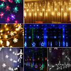 Christmas LED Star Snowflake Fairy String Lights Window Curtain Wedding Party