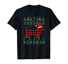 Plaid Dachshund Ugly Christmas Sweater Family Matching Pjs T-Shirt