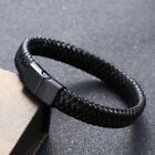 Black Punk Mens Bangles Jewelry Braided Leather Bracelets Stainless Steel Clasp