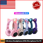Wireless Headphones With Microphone For PC Pink Cat Bluetooth Noise Cancelling
