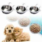 Pet Dog Puppy Cat Feeding Food Hanging Bowls Water Feeding Stainless Steel New