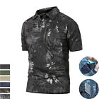 Airsoft Mens Military T-Shirt Tactical Outdoor Army Casual Zip POLO Shirt Camo
