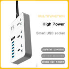 Extension Lead with 2 USB Cable Electric Plug Socket UK Mains Power 3 6 Gang Way