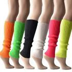 Women Halloween 80s Neon Colored Knit Leg Warmers Ribbed Bright Footless Socks