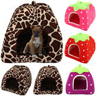 Pets House Cave Fleece Padded Bedding Dog Cat Warm Puppy Bed Igloo Washable Cave