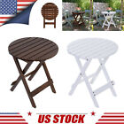 Outdoor End Table Round Wood Patio Table Garden Coffee Desk Foldable Side Table