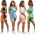 2021 Woman's Tie Dye Oblique Shoulder Tops Shirts Shorts 2pcs Sporty Outfit