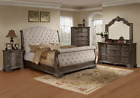 NEW 100% Solid Wood Queen King Upholstered Sleigh Bed Antique Gray Bed/D/M/N/C