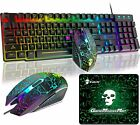 Gaming Keyboard and Mouse Sets RGB Backlit Mechanical Feel + Mouse Pads For PS4