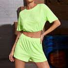 US Women Girls Two Piece Set Casual Sports Crop Top Shorts Tracksuit Outfit
