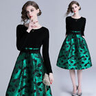 Spring Fashion Women's Temperament Matching Jacquard Weave Ball Gown Long Sleeve