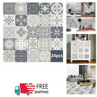 24pc Moroccan Style Tile Wall Stickers Kitchen Bathroom Self-adhesive Home Decor