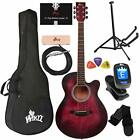 WINZZ 3/4 Dreadnought Acoustic Guitar Bundle with Online Lessons, Bag, Metronome
