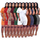 Fashion Women's V Neck Short Sleeves Solid Color Casual Loose Short Jumpsuit