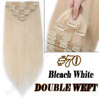 Double Wefted Clip In Full Head 100% Human Hair Extensions Ombre/Balayage Long E