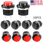 10 PCS 16mm Push Button Switch Non-Lock Momentary Open Round 2 Pins Metal