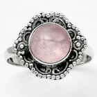 Natural Rose Quartz - Madagascar 925 Sterling Silver Ring s.9 Jewelry 0793