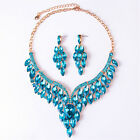 African Bridal Crystal Choker Statement Necklace Earrings Fashion Jewelry Set