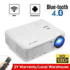 Android Multimedia Projector WIFI Blue-tooth Wireless Home Cinema HDMI USB LED