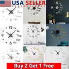 Modern DIY 3D Mirror Surface Large Number Wall Clock Sticker Home Office Decors