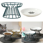 Ceramic Cat Elevated Bowls Raised Food W/ Iron Stand For Small Pet Cat Kitten