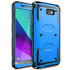 For Samsung Galaxy J3 Prime Emerge 2017 Hybrid Matte Case Cover + Tempered Glass