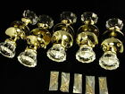 (X 5) ANTIQUE STYLE GLASS DOOR KNOB ROSETTE SETS NEW DOORKNOBS CRYSTAL