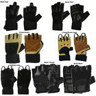 Zoop Leather Fingerless Gents Biker Gloves