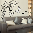 Large Butterfly Vine Vinyl Wall Stickers, Wall Decals, Wall Graphics, Wall Art