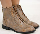 WOMENS VINTAGE LACE UP ANKLE LADIES BROGUES BOOTS SIZE