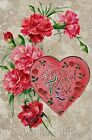 Valentine Greetings Cotton Quilt Block Multi Sizes (V3