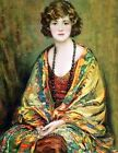 Lady In Colorful Gold Shawl Fabric Block Multi Sizes FrEE ShiPPinG WoRld WiDE