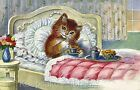 Kitten Morning Tea Time Fabric Applique Multi Sizes