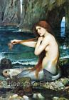 Waterhouse Mermaid At Water's Edge Fabric Quilt Block FrEE ShiPPinG WoRld WiDE