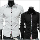 (JJS) Mens casual stripe patch slim shirts