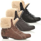 LADIES LACE UP FUR CUFF PIXIE ANKLE SHOES BOOTS SIZE