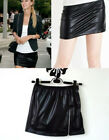 Hot Sexy Black Shiny Wet Faux Leather Look Mini Skirt