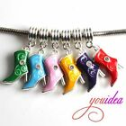 6 Hot Colorful Boot Rhinestone Charms Pendants Fit DIY