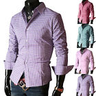 PJ Men's Casual Slim line Stylish Fitted Grid Dress Shirts 4 Size 6 Colors