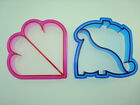 Dinosaur & Heart shaped Sandwich Cutter Cookie Toast Pastry Kids Party NEW