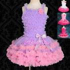 Girl Ruffle Dress Pettiskirt Top Tutu Pageant Dance Party Hot Pink Size 2T-8 100