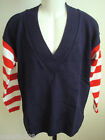 Men' v-neck sweater dark blue/black  Medium 100% cotton made USA Beverly Hills