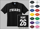 Friars College Letters Custom Name & Number Personalized T-shirt