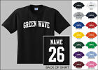 Green Wave College Letters Custom Name & Number Personalized T-shirt