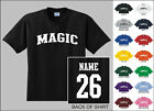 Magic College Letters Custom Name & Number Personalized Basketball T-shirt