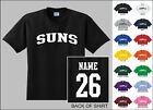 Suns College Letters Custom Name & Number Personalized Basketball T-shirt