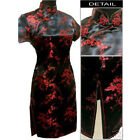 black red navy blue red Chinese silk Women's Dress Cheongsam SZ:6.8.10.12.14.16