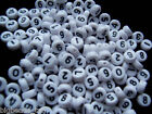 "100pcs 7 mm white flat round acrylic beads ""single"" numbers 0-9 buy 4 get 1 free"