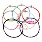 1 Multicolor Bulk Various Size Clasp Cord Leather Bracelet Fit Charms Beads