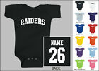 Raiders Baby One Piece, Creeper, Romper Personalized Custom Name & Number